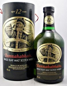 """Bunnahabhain 12 year old (old style) Single Malt Whisky An original distillery obsolete bottling of Bunnahabhain aged 12 years probably from the The traditional Scottish ballard """"Westering Home"""" on the back of both bottle and presentation tube. Tequila, Vodka, Scotch Whiskey, Bourbon Whiskey, Bourbon Drinks, Irish Whiskey, Whiskey Brands, Blended Whisky, Single Malt Whisky"""