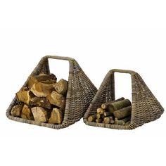 Small Gray Rattan Log Basket 21977 (52436)