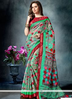Buy unique collection of designer saree. Buy this captivating print work printed saree for festival and party. - Saree