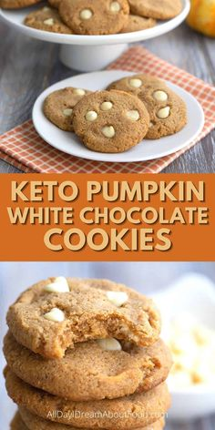 Low Carb Sweets, Low Carb Desserts, Low Carb Recipes, Ketogenic Desserts, Keto Snacks, Pumpkin Cookies, Keto Cookies, Chocolate Chips, White Chocolate