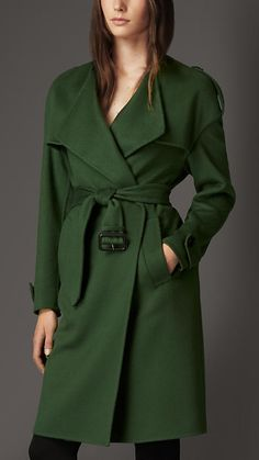 Burberry London Dark pigment green Cashmere Wrap Trench Coat - An unlined trench coat in double-faced cashmere, with distinctive dropped shoulders. The wrap design and belted waist create a feminine silhouette. Discover the women's outerwear collection at Burberry.com