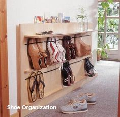 Living Room Shoe Storage Ideas - Living Room Shoe Storage Ideas , Diy Space Saving Hanging Shoe Rack the Idea King Hanging Shoe Rack, Hanging Shoes, Diy Shoe Rack, Shoe Storage, Storage Ideas, Diy Storage, Storage Solutions, Make Your Own Shoes, How To Make Shoes