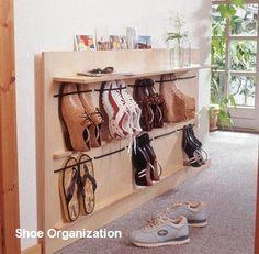 Living Room Shoe Storage Ideas - Living Room Shoe Storage Ideas , Diy Space Saving Hanging Shoe Rack the Idea King Hanging Shoe Rack, Hanging Shoes, Diy Shoe Rack, Make Your Own Shoes, How To Make Shoes, Comic Book Storage, Wooden Shoe Racks, Rack Design, Design Design