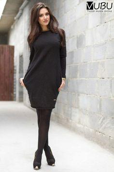 Tunika sukienka rozszerzana w biodrach czarny