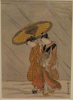 Suzuki Harunobu, Japanese Art, Old Masters Fine Art Print : Couple in a Snowstorm, Classical Art, Or Korean Art, Asian Art, Chinese Painting, Chinese Art, Japanese Prints, Japanese Art, Japan Painting, Art Japonais, Thing 1