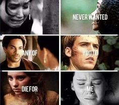 Died in the hunger games: Rue Died in catching fire: cinna. Died in Mockingjay: finnick and prim(rose.) (In this picture. Hunger Games Memes, The Hunger Games, Hunger Games Fandom, Hunger Games Catching Fire, Hunger Games Trilogy, Cinna Hunger Games, Hunger Games Problems, Suzanne Collins, Katniss Everdeen