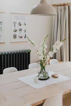 Wooden table and flowers