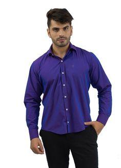 Camisa Social Masculina Furta Cor Azul - Rellur Camisaria