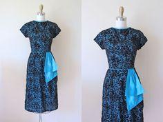 1950s Cocktail Dress  Vintage 50s Dress  Black Blue by jumblelaya