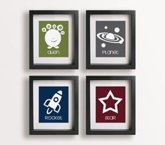Outer Space  Set of Four 5x7 Space Prints  Nursery by NikoAndLily