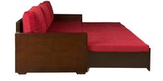 Candy Sofa Cum Bed with Storage in Dusty Red Colour by Design Monkee (Incl. 2 Mattresses + 3 Pillows + Changeable Covers) by Design Monkee Online - Wood Framed - Furniture - Pepperfry Product