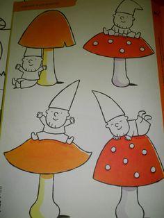 Speelwerkblad: kleur alle kabouters die OP de paddenstoel zitten. De kabouters die onder de paddenstoel zitten, laat je wit (bron: dopido)
