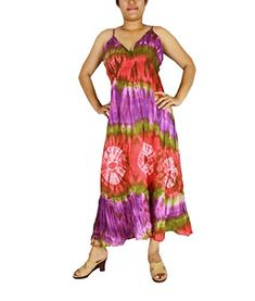 Siam2u Hippie Boho Tie Dye Cotton Long Halter Back Smock Maxi Dress -- Find out more about the great product at the image link.