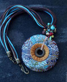 Купить Копия работы кулон из полимерной глины лесной 7 - разноцветный, кулон, круный кулон