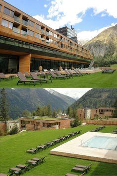 Gradonna Mountain Resort | Design Hotel | Austria | http://lifestylehotels.net/en/gradonna-mountain-resort-chalets-hotel | outside, meadow, pool, lounger