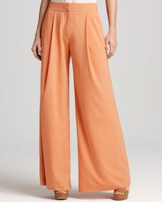 French Connection New Dixie Orange Pleated Front Casual Wide Leg Pants Bottoms