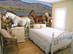 Wow, who wouldn't have wanted this room when they were a little girl!!  Horse Wall Murals Inspiration Decals.