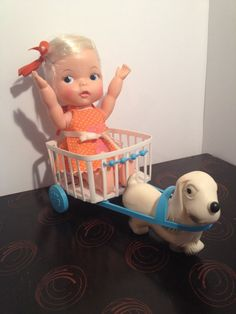 HONEYBALL Doll with Dog and Cart - Vintage 1966 by Ideal - RARE! #DollswithClothingAccessories