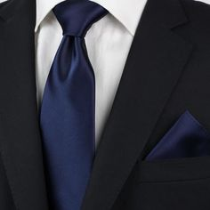 Solid Navy Tie Satin Finish Necktie in Dark Navy Wedding Navy Blue Suit, Blue Ties, Dark Navy Blue, Black Suits, Black And Navy, Black Tuxedo, Navy Bridesmaid Dresses, Navy Blue Dresses, Wedding Ties