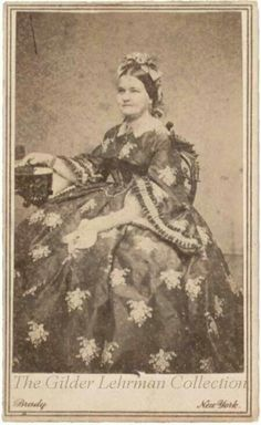 Mary Lincoln in florals.  Large floral pattern. Poor Mary, she wasn't very pretty...