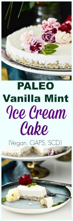 Another amazing paleo dessert recipe. Today it's Paleo Vanilla Mint Ice Cream Cake. Paleo Dessert, Healthy Dessert Recipes, Vegan Desserts, Fun Desserts, Real Food Recipes, Delicious Desserts, Yummy Food, Brunch Recipes, Appetizer Recipes