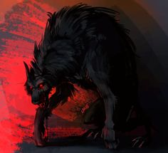 just a red dragon drawing Monster Art, Fantasy Creatures, Mythical Creatures, Dark Fantasy, Fantasy Art, Shadow Wolf, Scary Dogs, Demon Wolf, Wolf Artwork