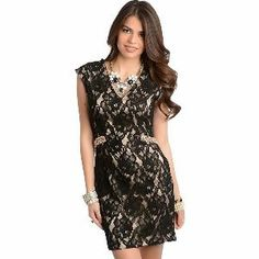 BLACK LACE OVER NUDE SLEEVELESS SEXY DRESS from Luxury Divas.