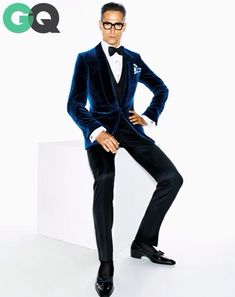 Blue velvet jacket with tuxedo