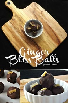 Ayummy healthy snack using mostly clean ingredients. My Ginger Bliss Ball Recipe - these were a seriously delicious recipe! www.moveloveeat.com for more healthy recipes and healthy snack ideas.