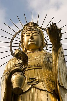 Japanese Kannon (Kwan Yin)  This golden Buddha stands 33 metres high. Hakusan, Japan