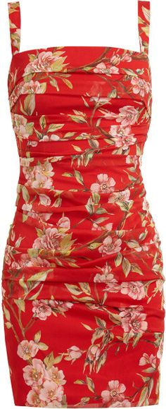 Dolce & Gabbana Multicolor Floral Printed Ruched Silk Dress