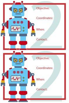 robot party invite-free printable
