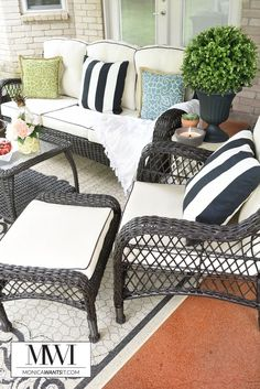 Tips and ideas for an affordable patio makeover that is perfect for lounging and entertaining in your backyard. The patio set that is featured is gorgeous! #BigLotsOutdoor #cbias ad