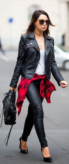 All  Leather With A Pop Of  Plaid
