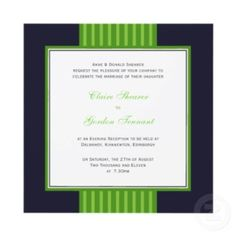 Navy Blue & Lime Green Wedding Invitation