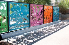 Colorful cutout steel fence screen