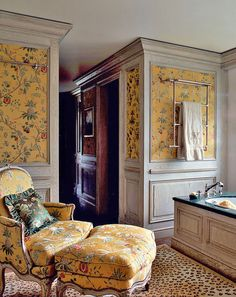 Luvranzh, the estate of Prince Marescotti Ruspoli & his wife Decius in the Belgian town of Vavre. Master Suite features Scalamandre's Colony La Perouse as wall and begere upholstery