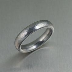Hammered Domed Stainless Steel Men's Ring Makes by johnsbrana