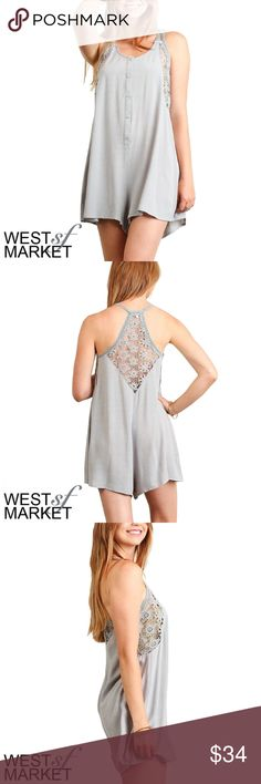 The Jasmine Romper The perfect throw and go piece! Flowy and flattering, this romper features buttons up the front and a lace racerback! West Market SF Pants Jumpsuits & Rompers