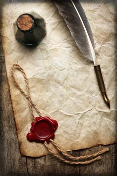 Not sure I could write well with a quill pen but I love the idea of it! The wax seal makes correspondence very special. Old Paper, Pen And Paper, Quill And Ink, Old Letters, Handwritten Letters, Penmanship, Letter Writing, Wax Seals, Mail Art