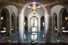 The Spa at The Selman is a palatial affair, all richly coloured tiles, jewel-blue doors, and practically dripping with chandeliers.