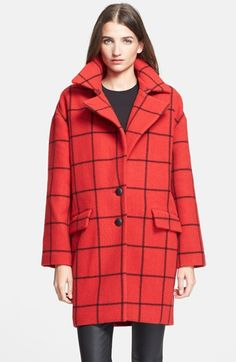red and black windowpane check coat // #plaid #fall