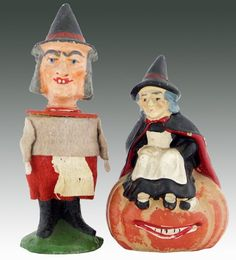 Vintage Halloween Witch candy containers.