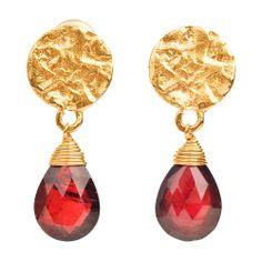 Gold Plated Disc Stud Earrings with Semi-Precious Garnet Drops from www.indigobluetrading.com