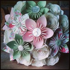 www.flairforfleur.co.uk  Paper Bouquets and buttonholes: Origami kusudama roses sage pink vintage floral kidston style