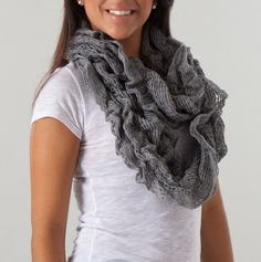Ruched Sweater Knit Scarf in Gray.