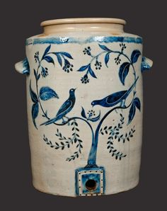 Exceedingly Important Morgan Maker (William Morgan, Baltimore, Stoneware Water Cooler through 2 Gal. CORTLAND Stoneware Crock with Slip-Trailed Floral Decoration (Auction Lots Antique Crocks, Old Crocks, Antique Stoneware, Stoneware Crocks, Antique Pottery, Earthenware, Glazes For Pottery, Ceramic Pottery, Pottery Art