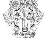 Art of Dachshund Single Coloring Page by ArtByEddy on Etsy Coloring Book Art, Adult Coloring, Coloring Pages, How To Draw Hands, Weiner Dogs, Quilts, Dachshunds, Zentangle, Artist