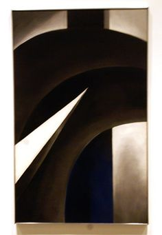 """Black White and Blue,"" by O'Keeffe, oil on canvas, 48 by 30 inches, 1930"