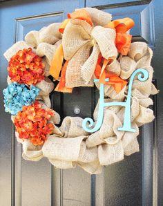 Monogram Wreath Fall Wreath For Door Monogram by WoodAndBurlap
